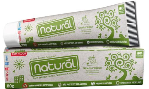 Creme dental natural sem flúor, 80g - Contente