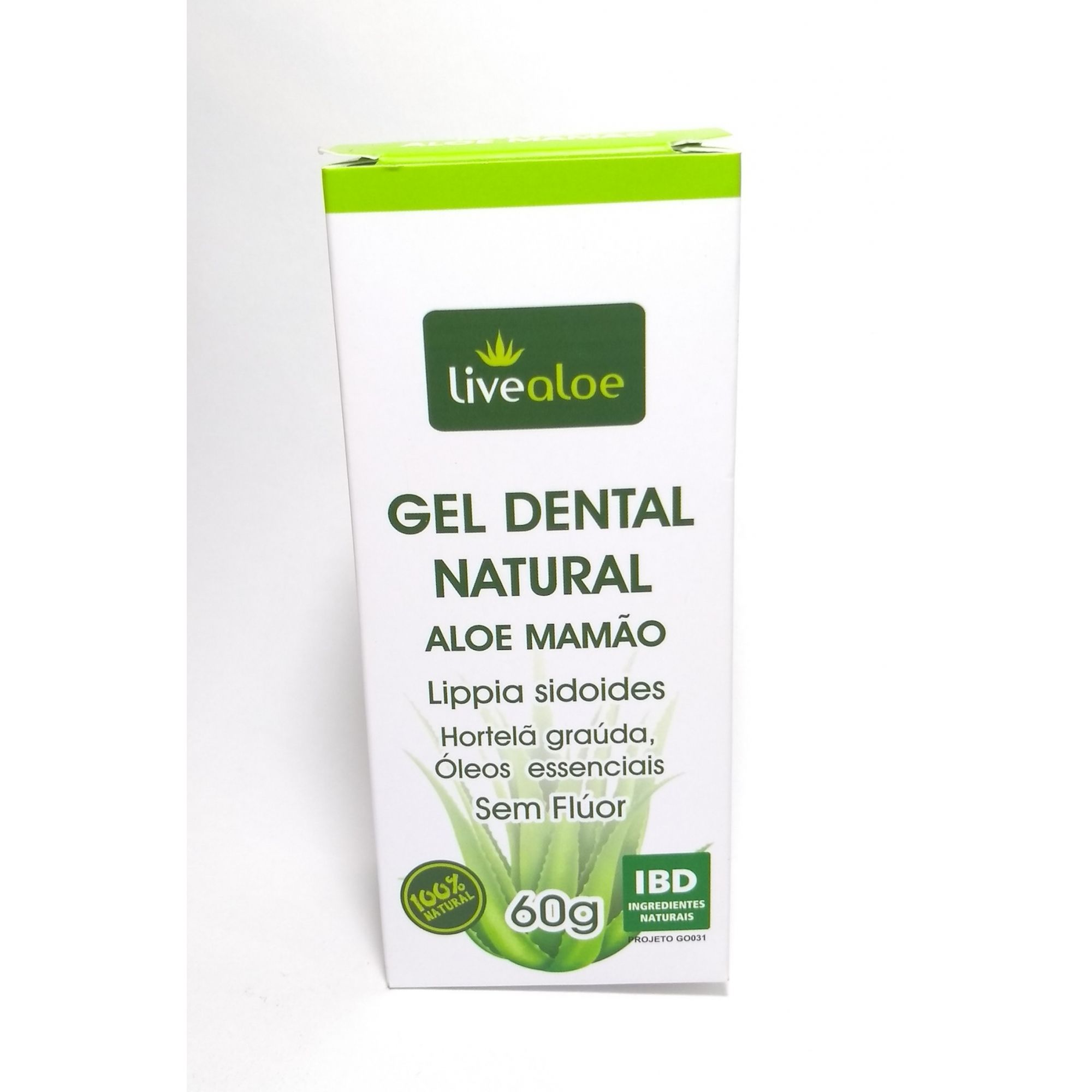 Gel dental natural, aloe mamão, 60g – Live Aloe