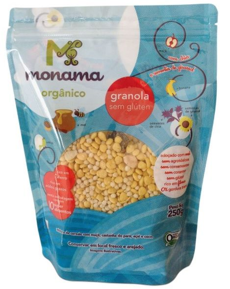 Granola mel orgânica sem glúten, 250g – Monama