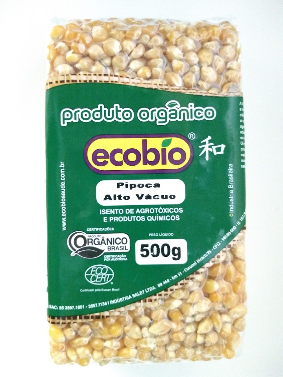 Pipoca orgânica alto vácuo, 500g – Ecobio