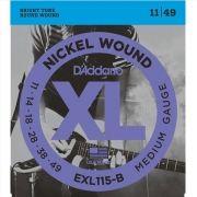 Corda Para Guitarra Daddario 011 Exl115-B