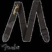 Correia Fender para Guitarra Poly Strap Preta Logo Amarela