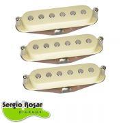 Trio de Captadores Strato Sergio Rosar Blues 43 Aged White