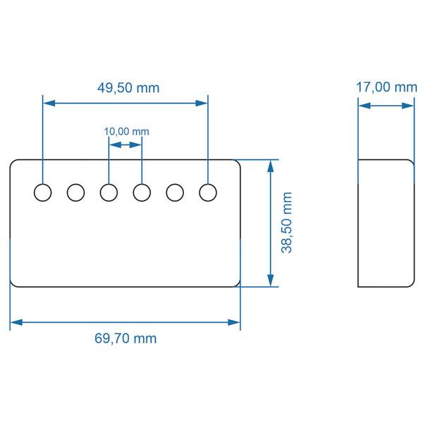 Capa Metalica Humbucker 49,5mm Preta