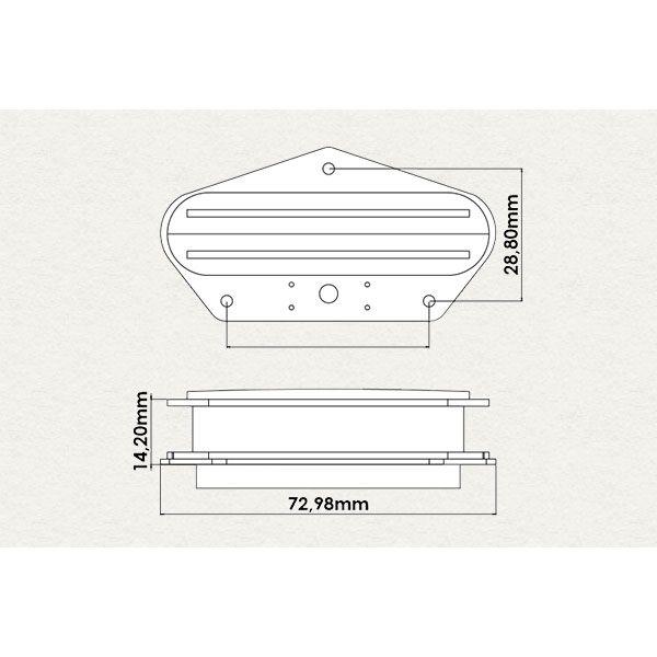 Captador Dual Blade Telecaster Sergio Rosar King Mid T Ponte Zebra Moderno