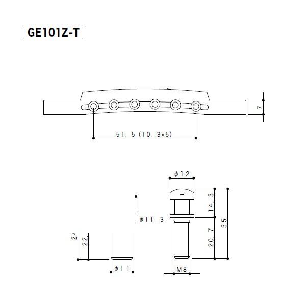Cavalete Tune O Matic Gotoh Standard GE-101Z-T Cromado