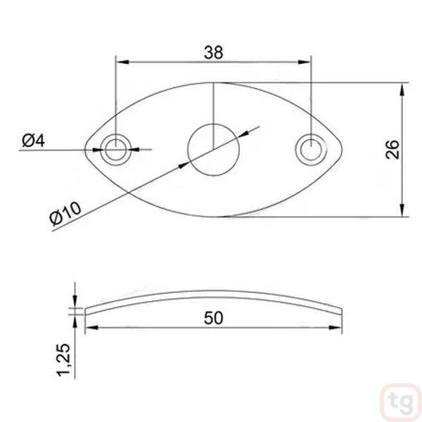 Chapa Metal Para Jack Oval Curva Preta
