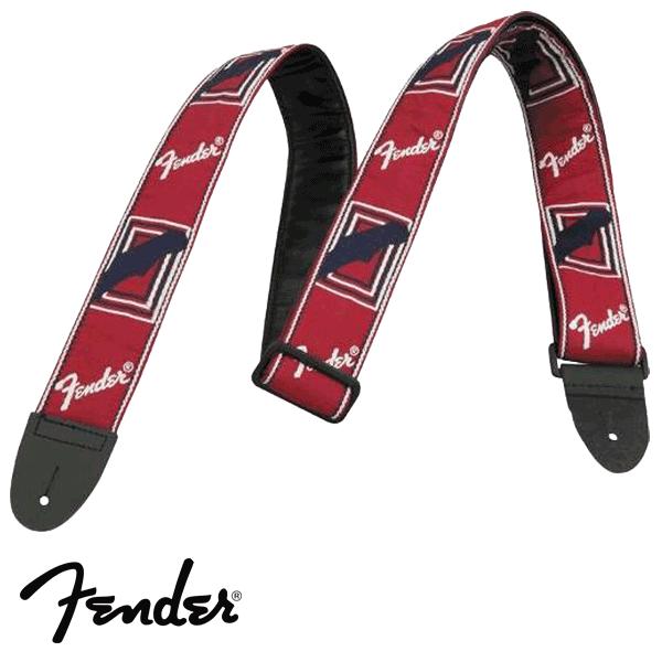 Correia Fender para Guitarra Monograma (branco/azul) Vermelho