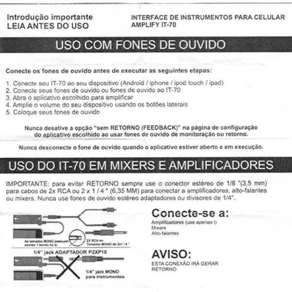 Interface Amplificador Smartphone Para instrumentos IT-70