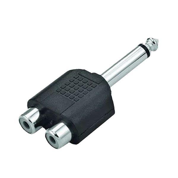 Plug Adaptador P10 Mono Para 2 Jack Rca