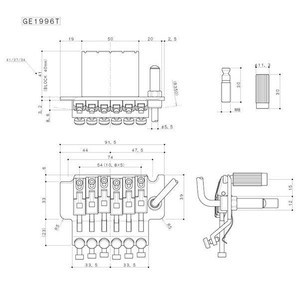 Ponte Floyd Rose Gotoh Ge1996t GHL-2 Cromo 43mm Embalagem Original