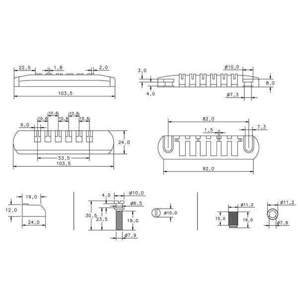 Ponte Para Guitarra Schaller Com Roller 2 Pivos