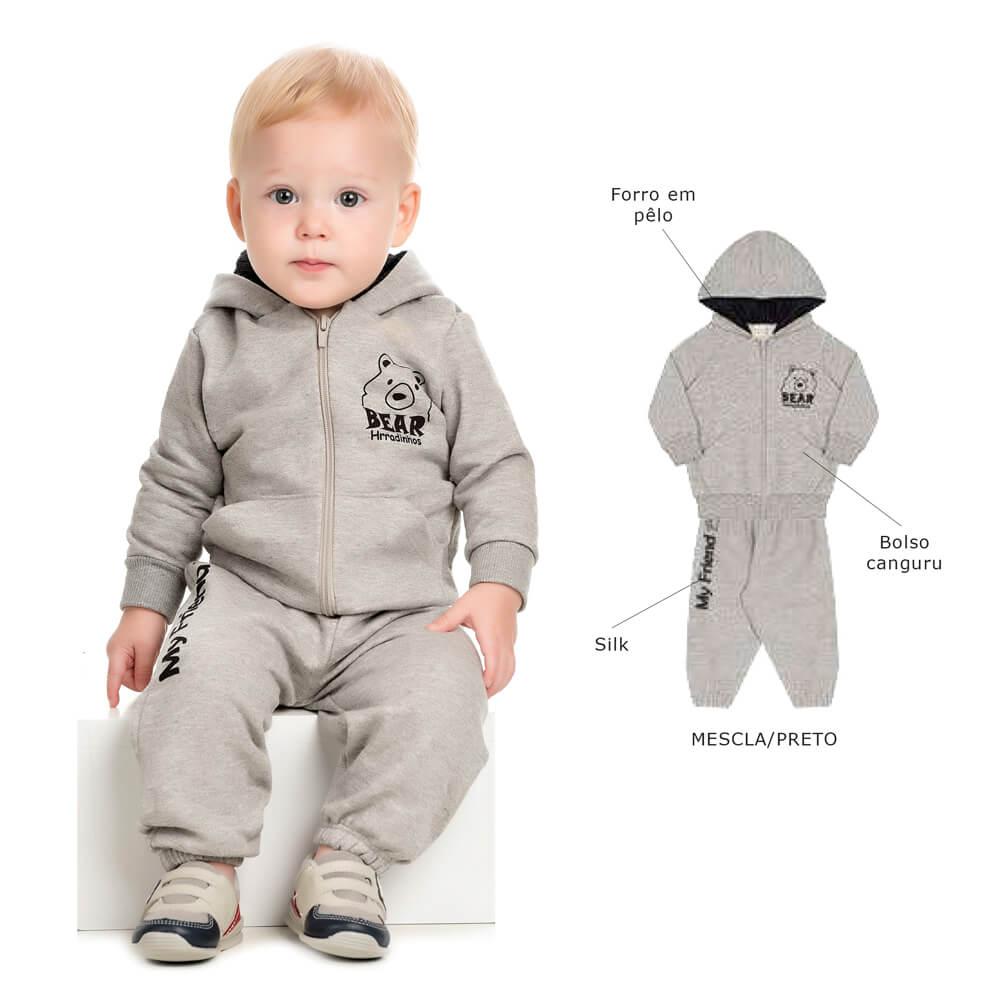 01724fb7dc58a6 Conjunto Moletom Bebê Calça e Blusa com Capuz de Pelo - Infância Urbana