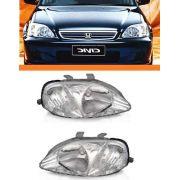 Farol Honda Civic 99 2000 Pisca Cristal Par