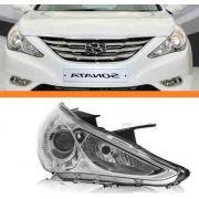 Farol Hyundai Sonata 2010 2011 2012 Máscara Cromada Direito