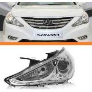 Farol Hyundai Sonata 2010 2011 2012 Máscara Cromada Esquerdo