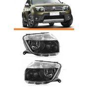 Farol Renault  Duster 2012 2013 Mascara Negra Par Novo