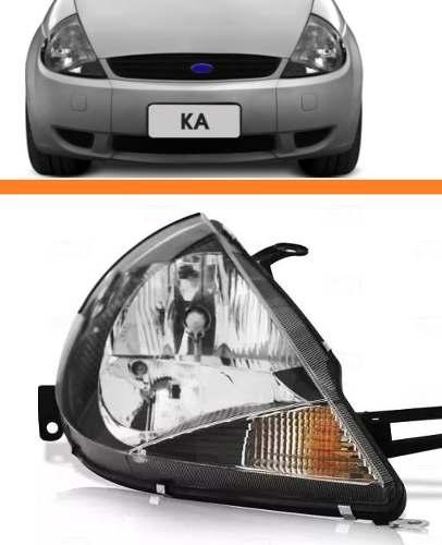 Farol Ford Ka 1997 1998 1999 2000 A 07 Mascara Negra Ld  - Kaçula Auto Peças