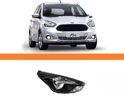 Farol Ford Ka 2015 2016 2017 Novo Mascara Negra Lado Direito  - Kaçula Auto Peças