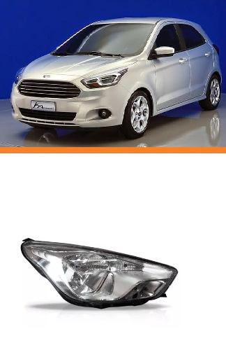 Farol Ford Ka Lado Direito Cromado Manual 2015 2016  - Kaçula Auto Peças