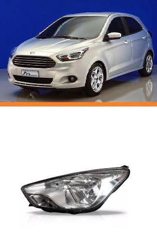 Farol Ford Ka Lado Esquerdo Cromado Manual 2015 2016  - Kaçula Auto Peças