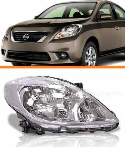 Farol Nissan Versa 2011 2012 2013 2014 Cromado Direito  - Kaçula Auto Peças