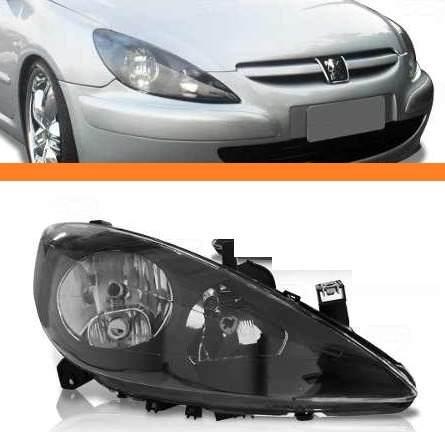 Farol Peugeot 307 2002 2003 2004 05 06mascara Negra Direito  - Kaçula Auto Peças