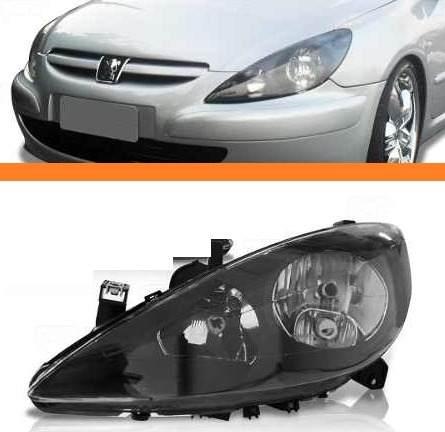 Farol Peugeot 307 2002 2003 2004 05 06mascara Negra Esquerdo  - Kaçula Auto Peças