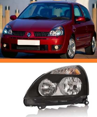Farol Renault Clio 2003 2004 2005 06 Máscara Negra Esquerdo  - Kaçula Auto Peças