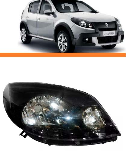 Farol Renault Sandero 2012 13 14 Mascara Negra Direito  - Kaçula Auto Peças