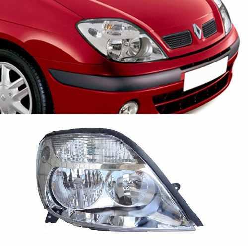 Farol Renault Scenic 2001 A 2009 Cromado Direito - Passageir  - Kaçula Auto Peças