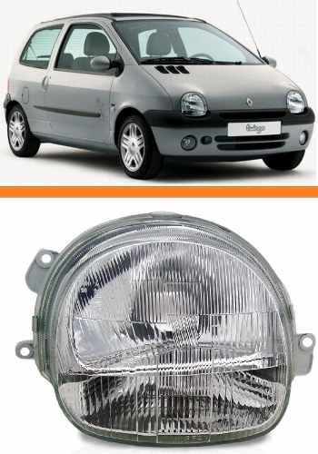 Farol Twingo 2000 2001 2002 2003 2004 2005 Cristal Esquerdo  - Kaçula Auto Peças