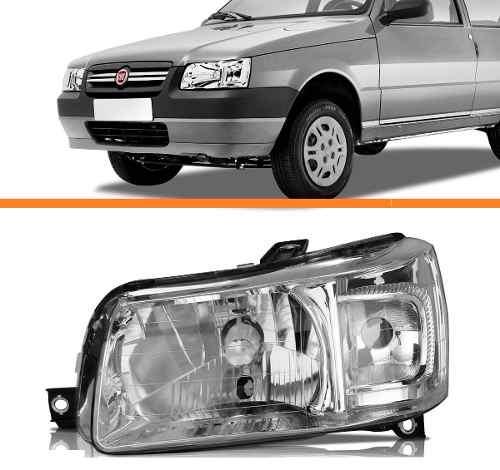 Farol Uno 2004 2005 2006 2007 2008 2009 2010cromado Esquerdo  - Kaçula Auto Peças
