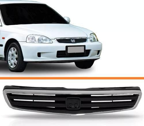 Grade Civic 1999 A 2000 C/ Moldura Cromada 99 00  - Kaçula Auto Peças