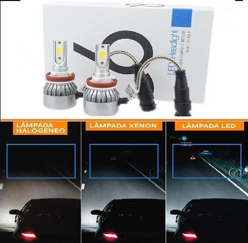 Par Super Lâmpada Led W H7 Super Branca 6000w C6   - Kaçula Auto Peças