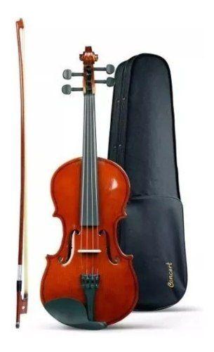 Violino Acústico Com Case E Arco Cv 4/4 - Concert