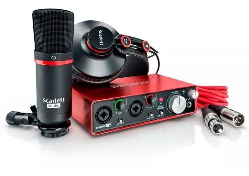 Kit Home Studio Focusrite Scarlett 2i2 com Fone e Microfone