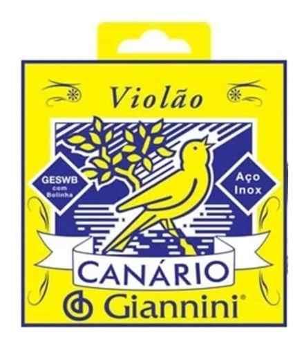 Encordoamento Giannini Canario Violão Aço Com Bolinha Geswb
