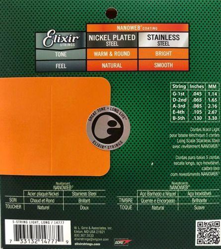 Cordas P/baixo 5c Elixir Nanoweb 045/130 14777