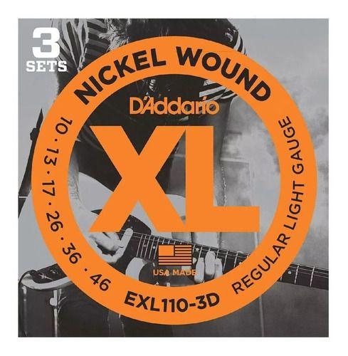 Kit com 3 Encordoamentos Guitarra D'addario Exl110-3d .010-.046