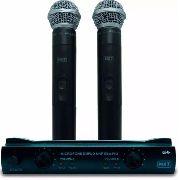 Microfone Sem Fio Profissional Duplo Uhf-302 Com Case Mxt