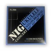 Encordoamento Nig N306 Ukulelê Concert  Nylon Branco