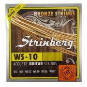 Encordoamento Violão Aço Strinberg Ws10 Extra Light 0.010