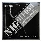 Jogo De Cordas Nig Npb520  para Violão Aço 011