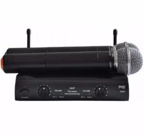 Microfone Duplo Mão-Mão JWL U-585 Sem Fio Uhf