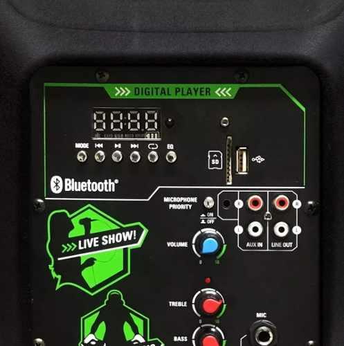 """Caixa de Som Amplificada Pro Bass Elevate 15"""" com Suporte e Microfone"""