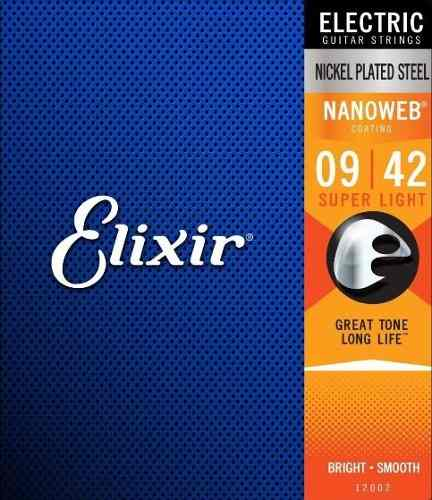 Encordoamento Guitarra Corda Elixir Super Light 09|42 Nanoweb 12002