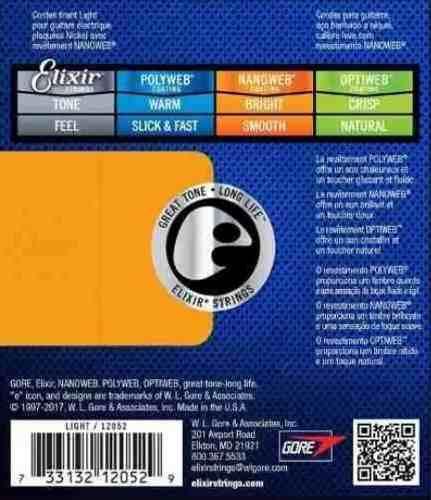 Encordoamento Elixir Guitar Nanoweb 10|46 Light 12052