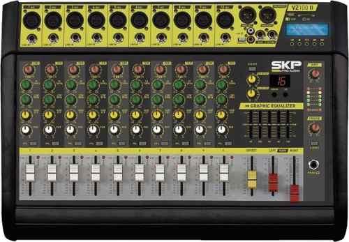 Mesa De Som Amplificada 10c Ativa Skp Vz100 Usb/bluetooth
