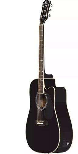 Violão Eletroacústico Harmonics Folk Aço P10 Ge-30bk Preto